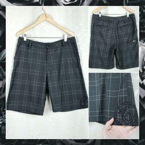 Ezekiel Dark Gray Plaid Embroider Shorts Mens 34